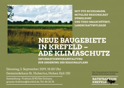 Infoabend: Neue Baugebiete in Krefeld – Adé Klimaschutz @ Gemeindehaus St. Hubertus